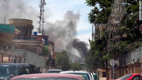Smokes rises after a huge explosion at the offices of global development charity Counterpart International in Kabul, Afghanistan, on May 8, 2019.