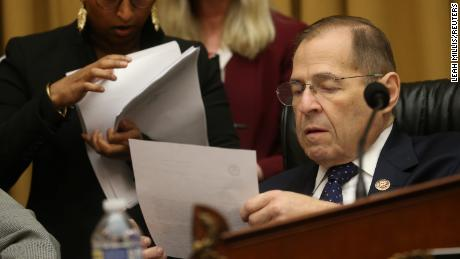 House Judiciary Committee Chairman Jerrold Nadler (D-NY) works with staff as the House Judiciary Committee meets to vote on holding Attorney General William Barr in contempt over his refusal to comply with a subpoena seeking an unredacted version of the Mueller report on Capitol Hill in Washington, U.S., May 8, 2019. REUTERS/Leah Millis