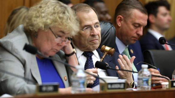 WASHINGTON, DC - MAY 08: House Judiciary Committee Chairman Jerrold Nadler (D-NY) (C) presides over a mark-up hearing during which the committee will vote on whether to hold Attorney General William Barr in contempt of Congress for not providing an un-redacted copy of special prosecutor Robert Mueller's report in the Rayburn House Office Building on Capitol Hill May 08, 2019 in Washington, DC. Just before Wednesday's hearing President Donald Trump announced that he will invoke executive privilege over all the materials Nadler subpoenaed, including the Mueller report and its underlying evidence. (Photo by Chip Somodevilla/Getty Images)