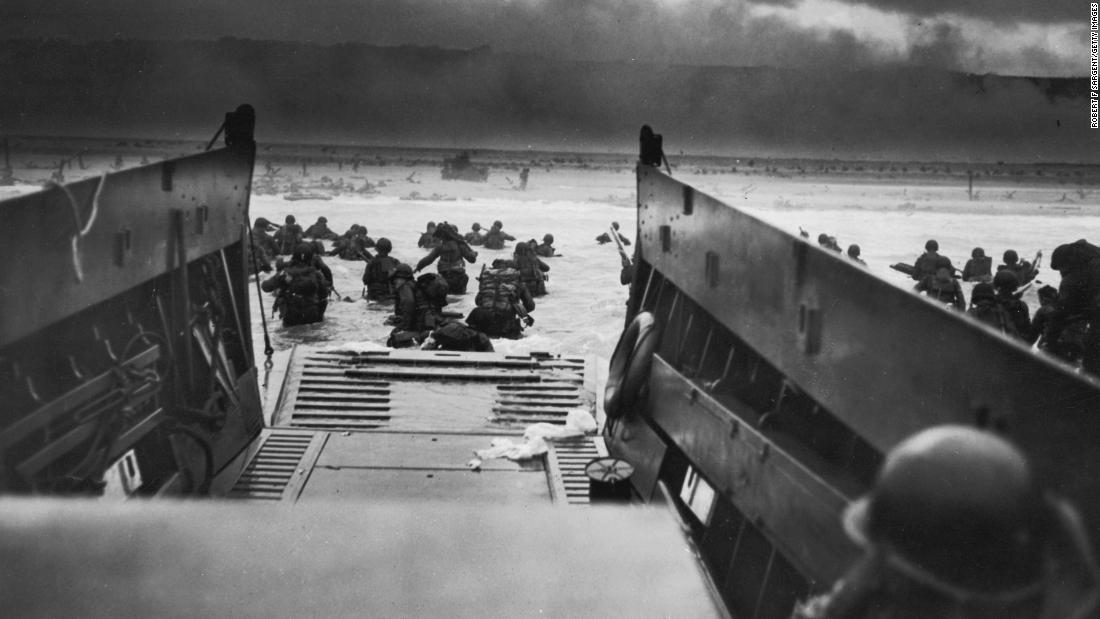 American troops storm the beaches of Normandy, France, on June 6, 1944.