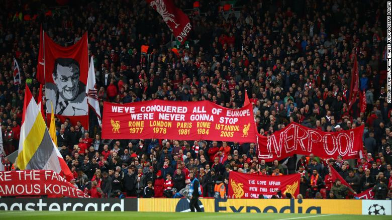 Liverpool fans at Anfield during Champions League semifinal against Barcelona.