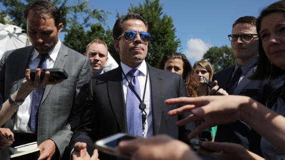 WASHINGTON, DC - JULY 25:  Incoming White House Communications Director Anthony Scaramucci talks with reporters during