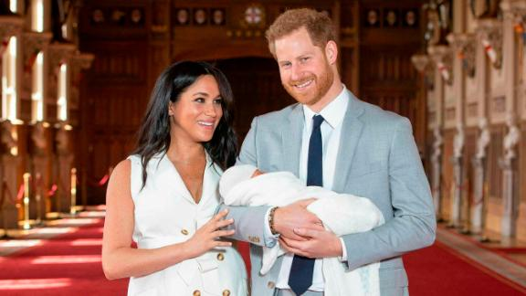Meghan and Harry present their newborn son at Windsor Castle in May 2019.