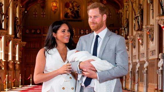 Britain's Prince Harry and his wife, Meghan, pose with their newborn son, Archie, at Windsor Castle on Wednesday, May 8.