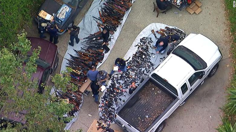 See massive collection of guns seized from a home