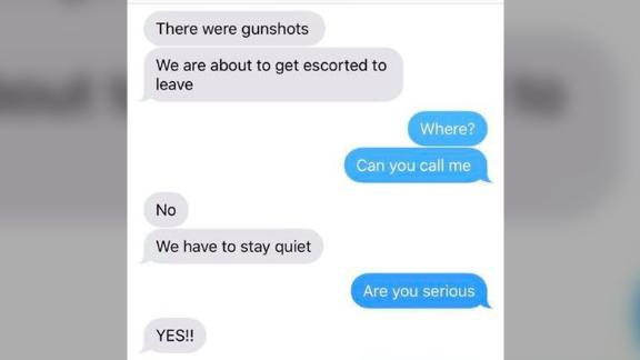 Text exchange between Cami Brainard and her son Owen, who was inside the school during the STEM school shooting.