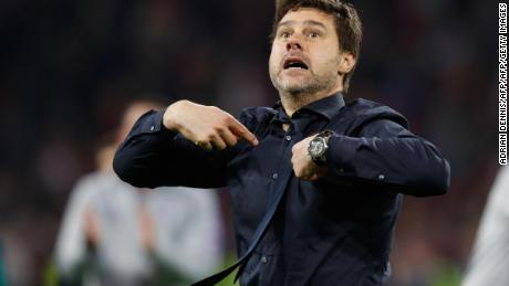 Pochettino was overcome by emotion at the full time whistle.