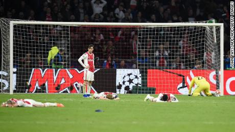 Ajax players dejected after losing their UEFA Champions League semi-final against Tottenham on May 8, 2019.
