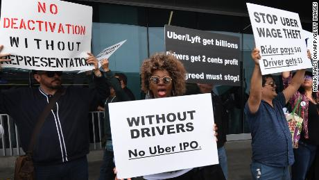 Rideshare drivers for Uber and Lyft stage strikes and protest at LAX International Airport, over what they say is unfair pay in Los Angeles, California May 8, 2019.
