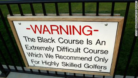 The famous sign warning golfers contemplating tackling Bethpage Black.