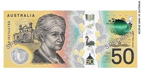 An image of the $50 note, featuring Edith Cowan.