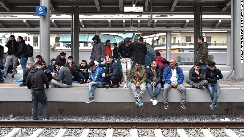 Migrants stage a protest at Athens central train station, in April this year, over travel restrictions.