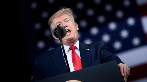"""US President Donald Trump speaks during a """"Make America Great Again"""" rally in Florida on May 8, 2019. BRENDAN SMIALOWSKI/AFP/Getty Images"""