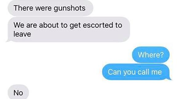 One of the text exchanges between Cami Brainard and her son Owen, who was inside the STEM school when shots rang out.