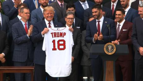 new arrival eb6a6 49a9e Boston Red Sox present Trump with jersey at White House