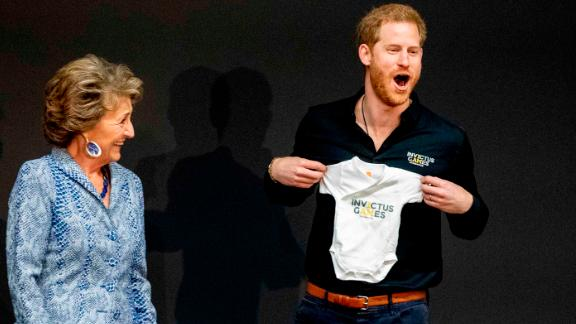 The Duke of Sussex was presented with an Invictus Games onesie for his newborn son Archie by Princess Margriet of The Netherlands.