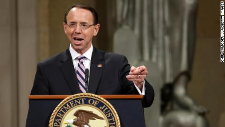 WASHINGTON, DC - MAY 09: U.S. Deputy Attorney General Rod Rosenstein delivers remarks during his farewell ceremony at the Robert F. Kennedy Main Justice Building May 09, 2019 in Washington, DC. Rosenstein, who has worked for the federal government for more than 29 years, will be most remembered for overseeing special counsel Robert Mueller's investigation into Russian interference in the 2018 presidential election. (Photo by Chip Somodevilla/Getty Images)