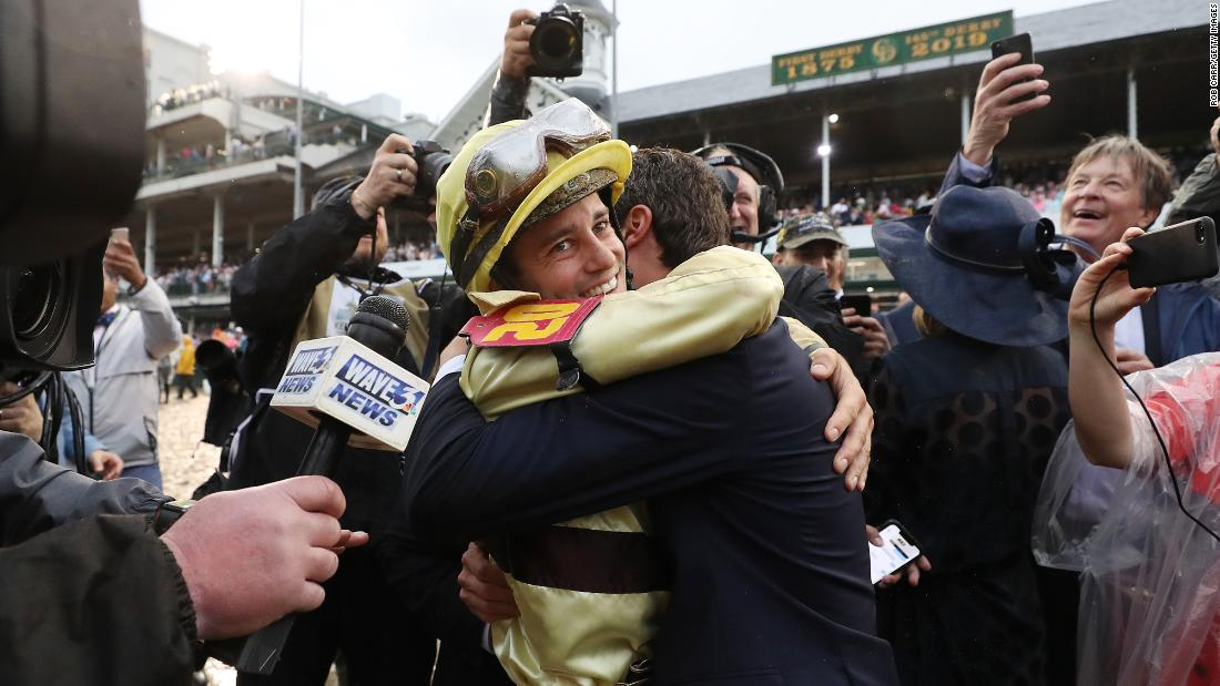 "Jockey Flavien Prat celebrates after riding Country House to a Kentucky Derby win on Saturday, May 4. <a href=""http://www.cnn.com/2019/05/04/sport/gallery/kentucky-derby-2019/index.html"" target=""_blank"">The longshot was declared the winner</a> after Maximum Security was disqualified for interference."