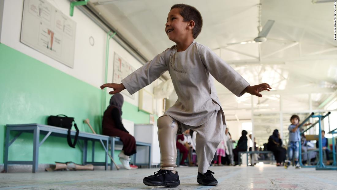 "Ahmad Sayed Rahman, a 5-year-old Afghan boy who lost his right leg when he was hit by a stray bullet, <a href=""http://www.cnn.com/video/data/2.0/video/world/2019/05/08/ahmad-dancing-boy-goes-viral-afghanistan-landmine-prosthetic-leg-nr-vpx.cnn.html"" target=""_blank"">dances with his new prosthetic leg</a> at a Red Cross hospital in Kabul on Tuesday, May 7."