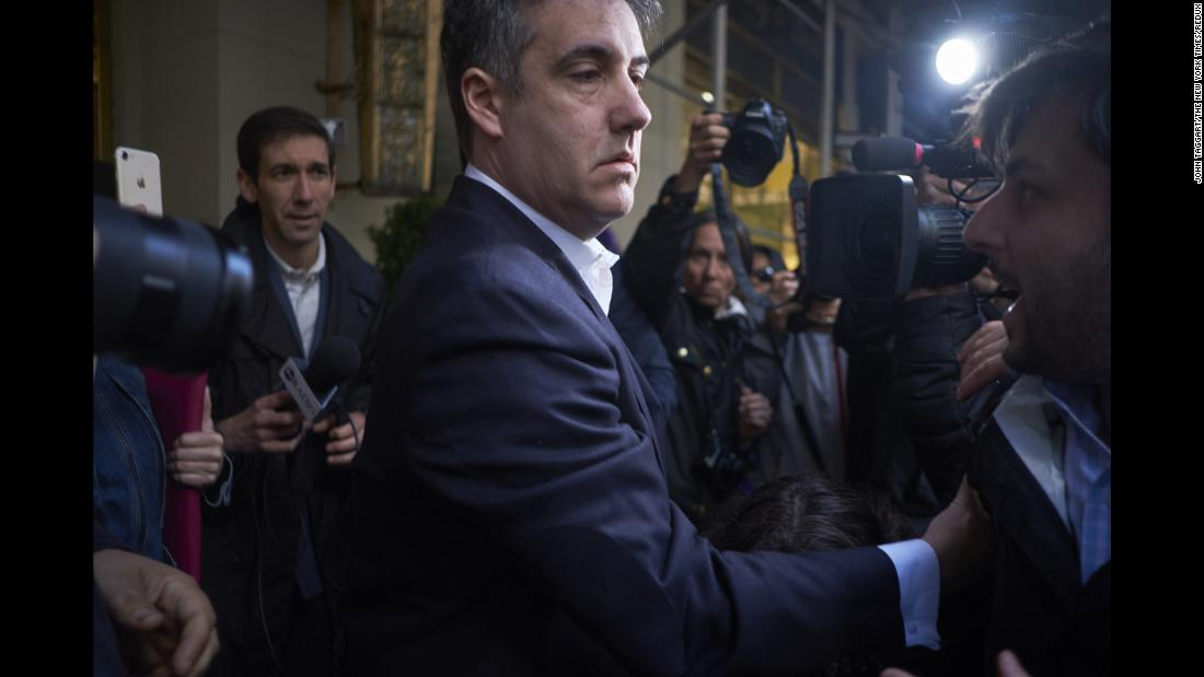 "Michael Cohen, a former attorney for US President Donald Trump, leaves his home in New York on Monday, May 6. He was <a href=""http://www.cnn.com/2019/05/06/politics/gallery/michael-cohen/index.html"" target=""_blank"">headed to a federal prison</a> to begin serving a three-year sentence that resulted from two cases."