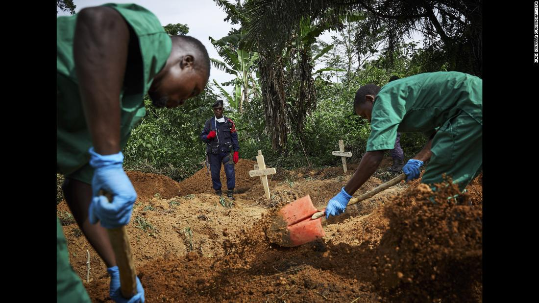 "Health workers bury an 11-month-old child in Beni, Congo, on Sunday, May 5. <a href=""https://www.cnn.com/2019/05/03/health/ebola-attacks-congo-africa-who-intl/index.html"" target=""_blank"">An outbreak of Ebola,</a> which began in August, has killed more than 1,000 people, according to the country's Ministry of Health."