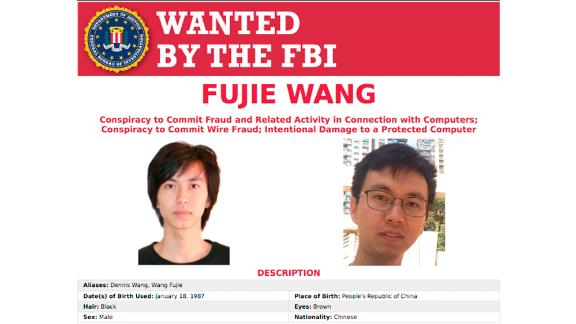 This Thursday, May 9, 2019, photo provided by the FBI shows a wanted poster of Fujie Wang. The Justice Department says a grand jury has indicted Wang and another man identified only as John Doe for hacking into the computers of health insurer Anthem Inc. and three other, unnamed companies, in an indictment unsealed Thursday, May 9, 2019, in Indianapolis. (Federal Bureau of Investigation via AP)