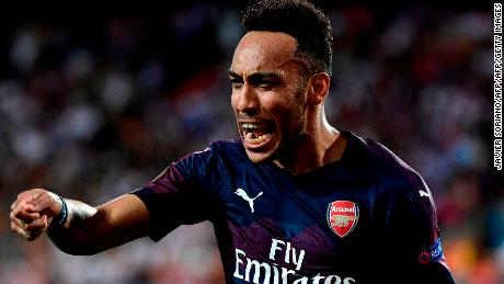 57b4891d6bd Pierre-Emerick Aubameyang scored a hat-trick as Arsenal claimed victory in  Valencia.