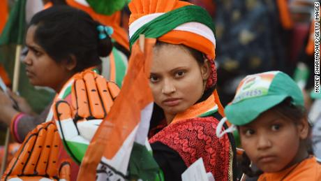 Indian supporters of Congress Party attend a rally addressed by Congress Party President Rahul Gandhi in New Delhi.