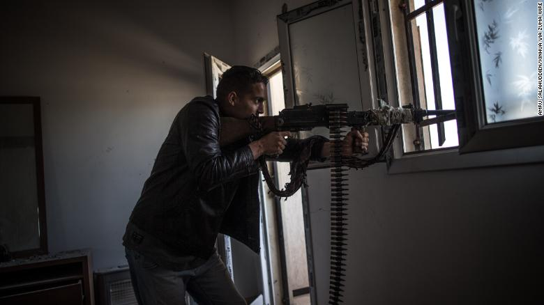 A fighter from forces of the UN-backed Libyan government is seen in Salah Al-Din frontline, Tripoli, Libya, May 6.