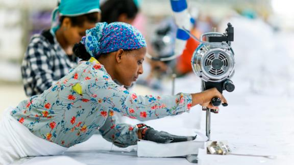 Workers at one of the textile production factories