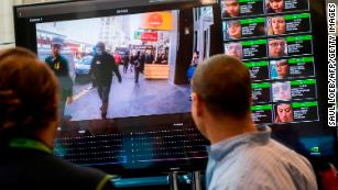 A display shows a facial recognition system for law enforcement during the NVIDIA GPU Technology Conference, which showcases artificial intelligence, deep learning, virtual reality and autonomous machines, in Washington, DC, November 1, 2017.