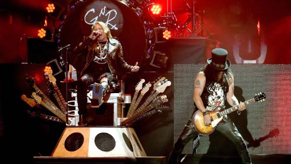 Axl Rose and Slash of Guns N' Roses performs during the 2016 Coachella Valley Music & Arts Festival.