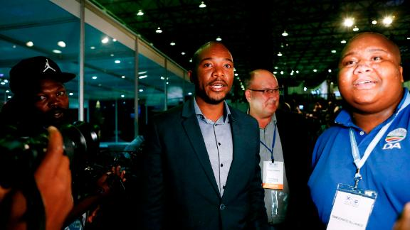 South African main opposition party Democratic Alliance (DA) leader Mmusi Maimane arrives at the Independent Electoral Commission (IEC) Results Operations Centre in Pretoria, South Africa.