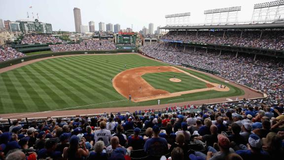 CHICAGO, IL - AUGUST 14:  A general view of Wrigley Field  as the Chicago Cubs take on the Milwaukke brewers on August 14, 2018 in Chicago, Illinois. The Brewers defeated the Cubs 7-0.  (Photo by Jonathan Daniel/Getty Images)