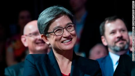 Penny Wong pictured at a 2019 Federal Election Volunteer Rally in Burwood on April 14 in Sydney, Australia.