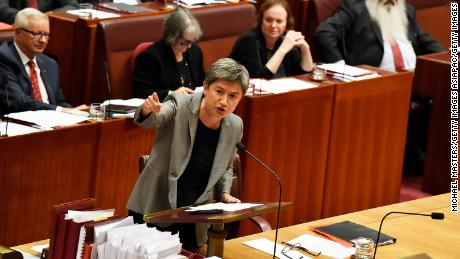 Leader of the Opposition in the Senate, Senator Penny Wong, speaks against a motion in the Senate on June 20, 2018 in Canberra.