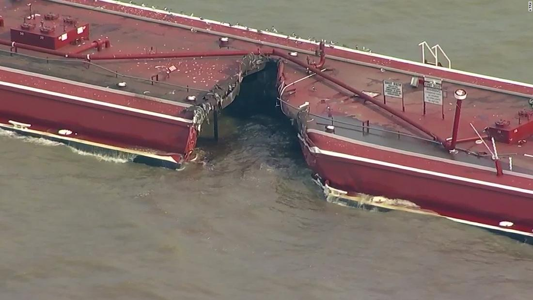 Gas product spills in Houston after collision involving oil tanker and barges