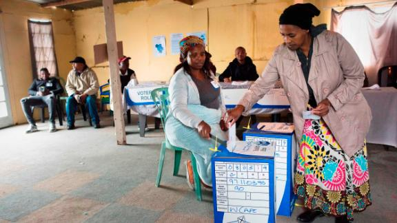 A woman casts her vote in Cape Town on Wednesday.