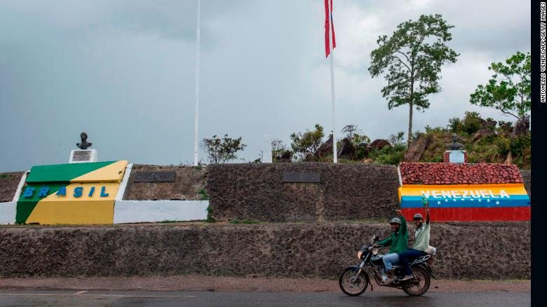 View of the Brazil-Venezuelan border crossing in Pacaraima, Roraima state on May 10.