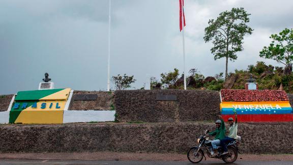 View of the Brazil-Venezuelan border crossing in Pacaraima, Roraima state on May 10.
