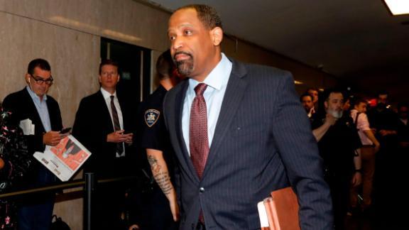 Attorney Ronald Sullivan, for Harvey Weinstein, enters State Supreme Court in New York, Friday, April 26, 2019. Both sides in Weinstein