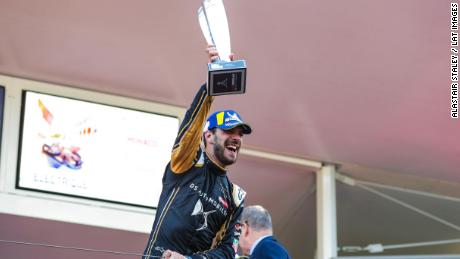 MONTE CARLO, MONACO - MAY 11: Jean-Eric Vergne (FRA), DS TECHEETAH celebrates victory on the podium during the Monaco E-prix at Monte Carlo on May 11, 2019 in Monte Carlo, Monaco. (Photo by Alastair Staley / LAT Images)