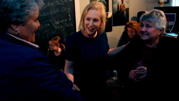 Democratic presidential candidate Sen. Kirsten Gillibrand, D-N.Y., talks with guests during a campaign stop at a coffee shop in Derry, N.H., Friday, May 10, 2019. (AP Photo/Charles Krupa)