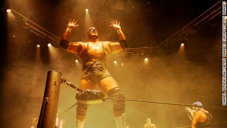 Silver King celebrates after a win at the Roundhouse in London in 2008.