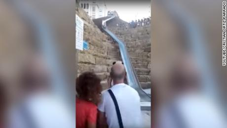 Videos and images circulated on social media of people flying off the end of the slide.