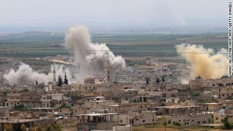 Syrian government forces carried out shelling on the town of Khan Sheikhun in the southern countryside of the rebel-held Idlib province Saturday.