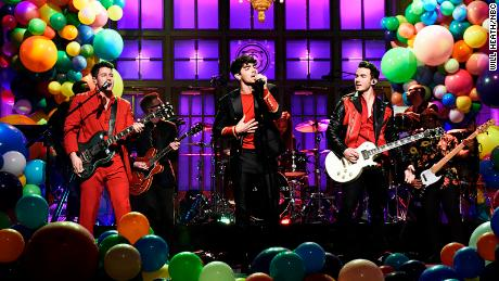 "The Jonas Brothers performed their new singles ""Sucker"" and ""Cool"" before throwing it back to ""Burnin' Up"" on ""Saturday Night Live."""
