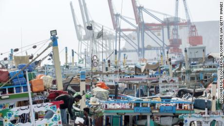 Fishing boats moored at Gwadar Port in Pakistan.