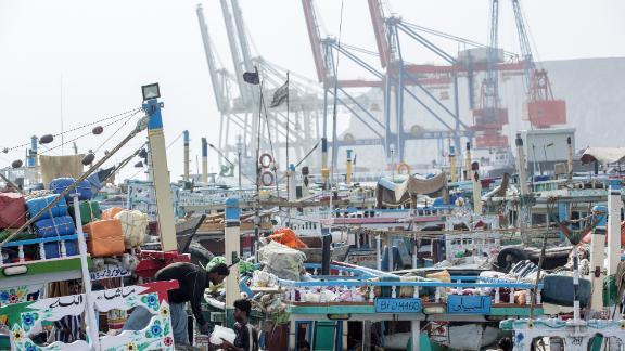 Fishing boats moored at Gwadar Port in Pakistan.