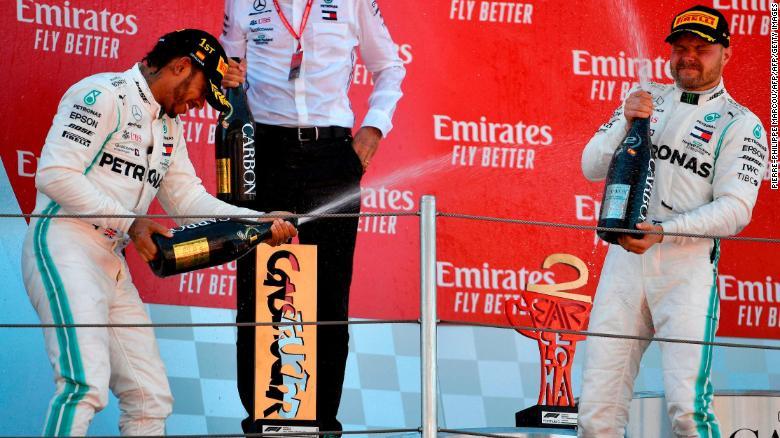 Hamilton and Bottas celebrate on the podium